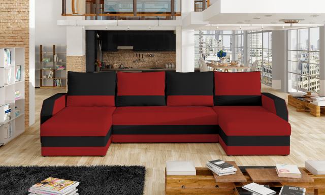 Levná  sedačka ve tvaru U Margot, červená/černá