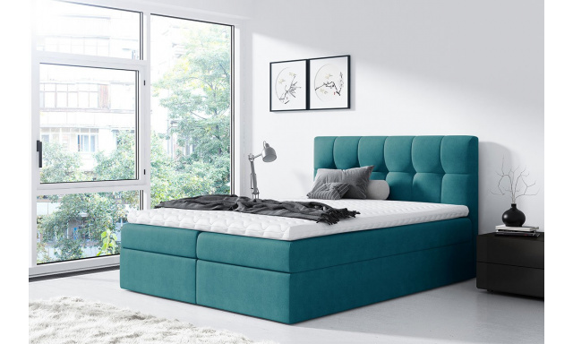 Moderní box spring postel Rapid 160x200, tyrkysová
