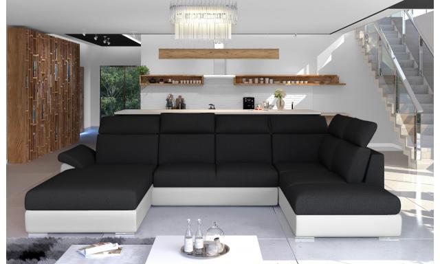Rohová sedačka ve tvaru U Estonia, bílá/černá