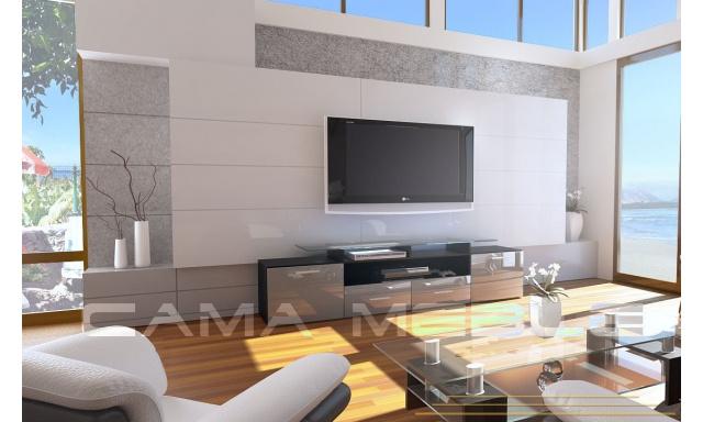 TV stolek Evora, černá/šedý lesk