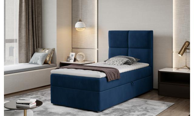 Moderní box spring postel Garda 90x200, modrá Monolith
