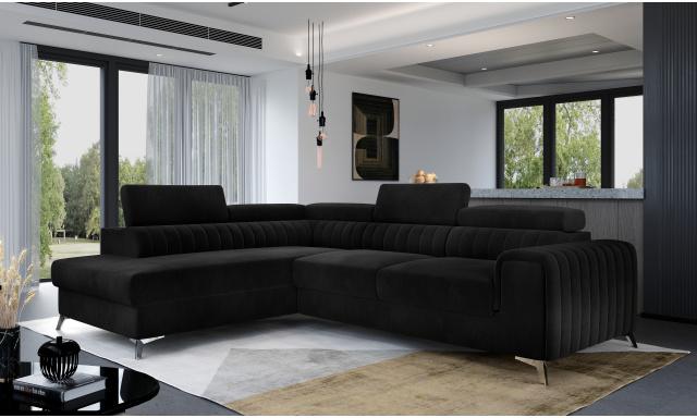 Moderní sedací souprava Ledrano, černá Velvet