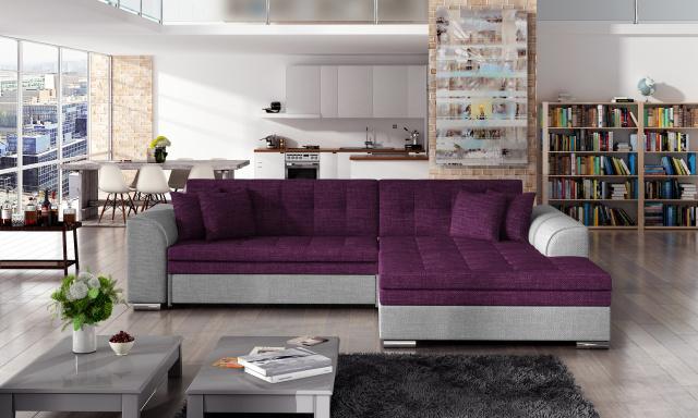Moderní rohová sedačka Santos, šedá/fialová