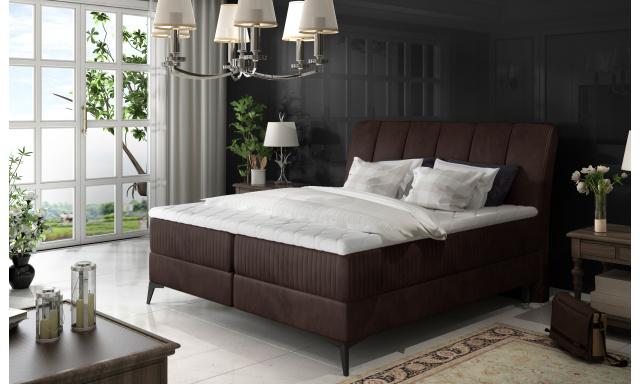 Elegantní box spring postel Ariana 180x200, hnědá