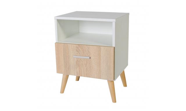 Noční stolek Losper, bílý/sonoma
