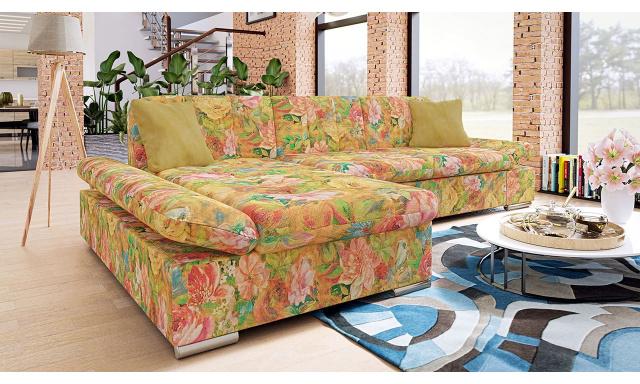 Moderní rohová sedačka Malaga, žlutá/květinový vzor