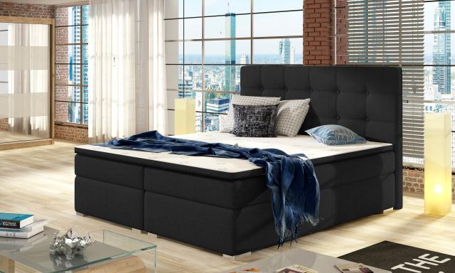 Moderní box spring postel Inter 180x200, černá