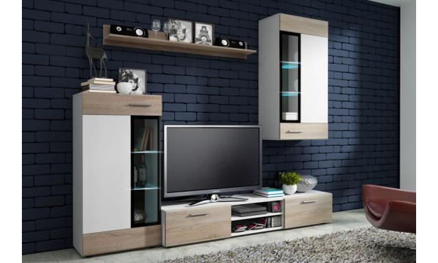 Moderní obývací stěna Tiego, bílá/sonoma