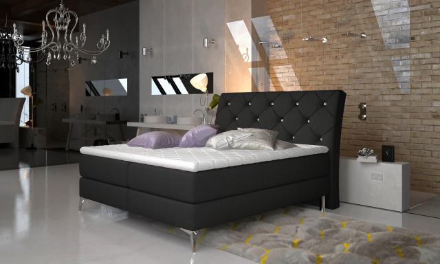 Stylová box spring postel Misha 180x200, černá