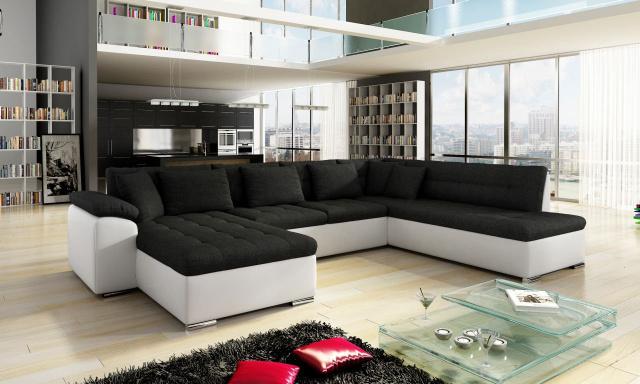 Luxusní sedací souprava Kalla, bílá/černá