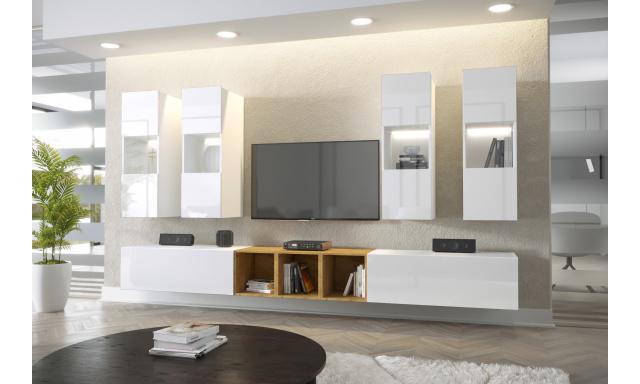 Moderní bytový nábytek Premio A, bílá/bílý lesk