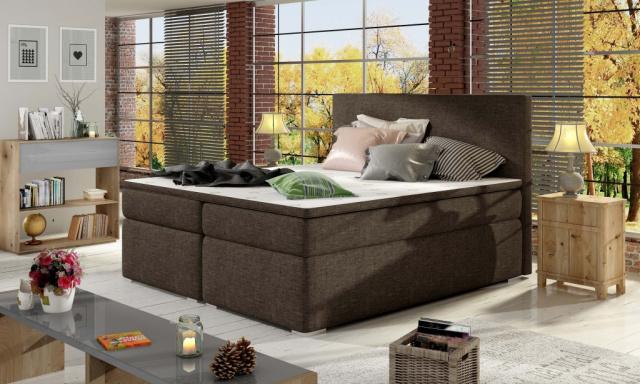 Moderní box spring postel Dive 180x200, hnědá