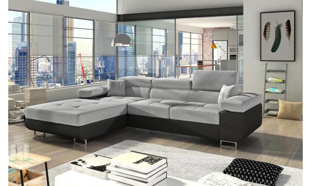Moderní rohová sedačka Alcudia, černá/šedá
