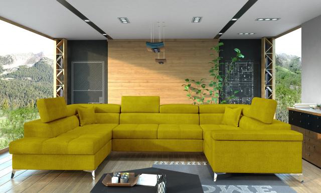 Rohová sedačka ve tvaru U Teuns, žlutá