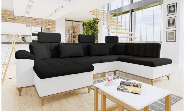 Luxusní sedací souprava Falun, bílá/černá