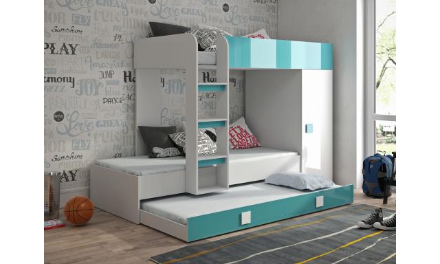 Dětská postel pro 3 děti Thiago, bílá/tyrkysový lesk