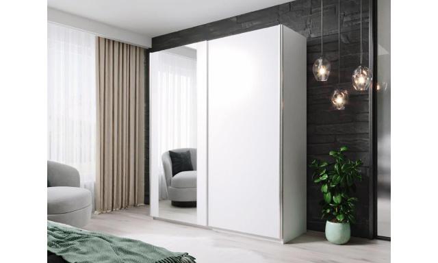 Moderní šatní skřín Horacio 180cm, bílá + zrcadlo