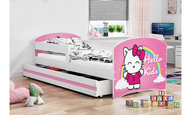 Dětská postel Lucca, bílá + vzor Hello kids, 160x80cm
