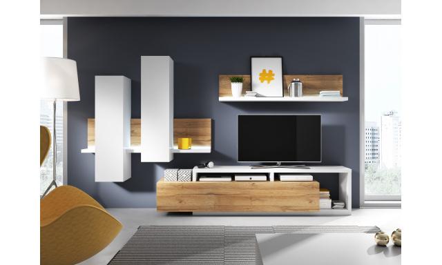 Designová obývací stěna Bigla, dub Grandson/bílá + LED