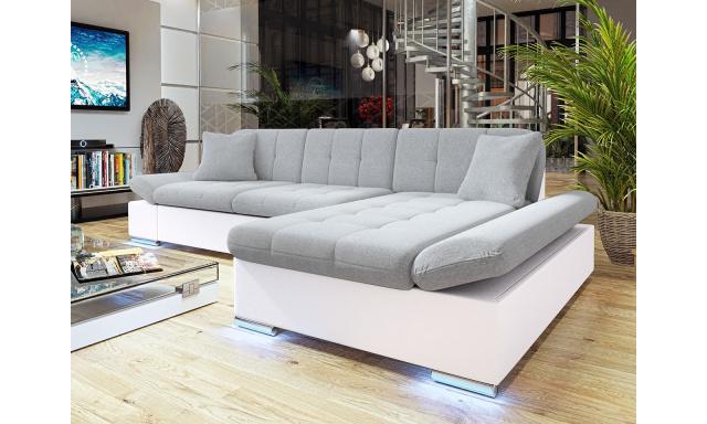 Moderní rohová sedačka Vaduz s LED osvětlením, bílá/šedá