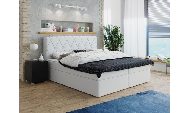 Moderní box spring postel Stefanie 160x200, bílá