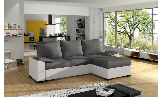 Moderní rohová sedačka Favour, bílá/šedá