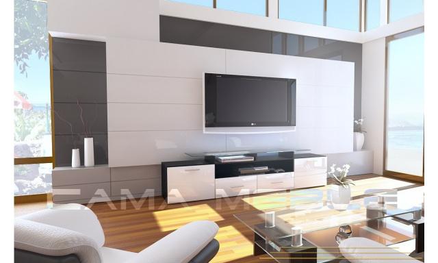 TV stolek Evora, černá/bílý lesk