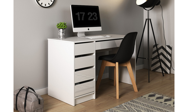 PC stůl Adela, bílý lesk