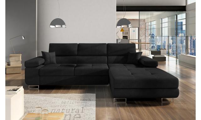 Moderní rohová sedačka Alcudia, černá