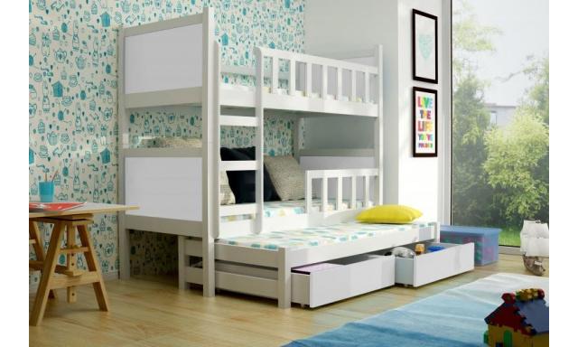 Dětská  postel pro 3 děti Paris, bílá + MATRACE