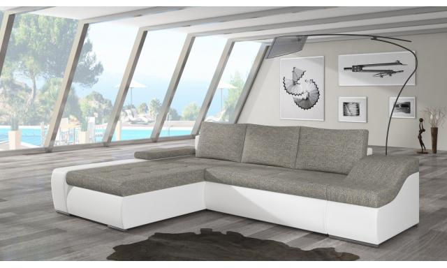 Moderní rohová sedačka Oskar, bílá/béžová