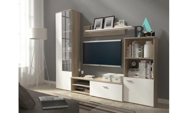 Moderní obývací stěna Lucky, sonoma/bílá