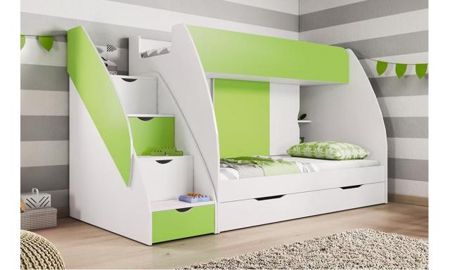 Patrová dětská postel Martina, bílá/zelená