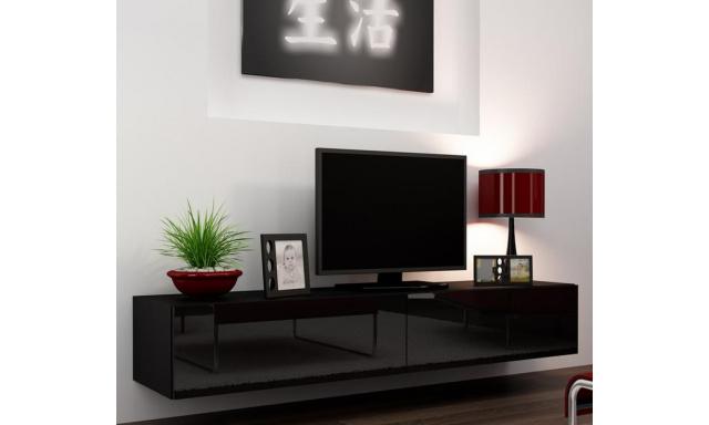 Moderní televizní stolek Igore 180, černá/černý lesk