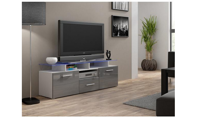 TV stolek Evora mini, bílý korpus/ šedý lesk