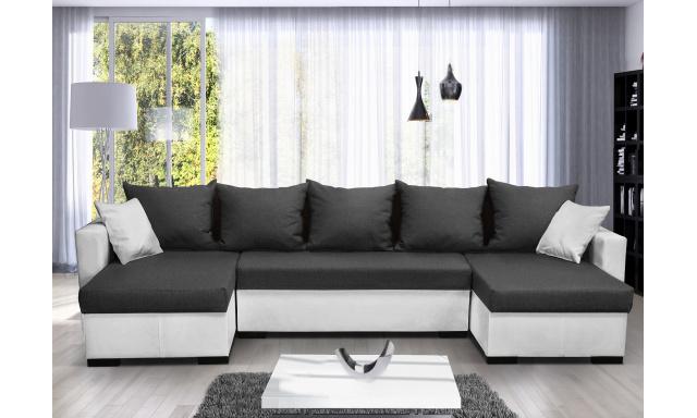 Moderní rohová sedací souprava Karlos U, bílá/tmavě šedá