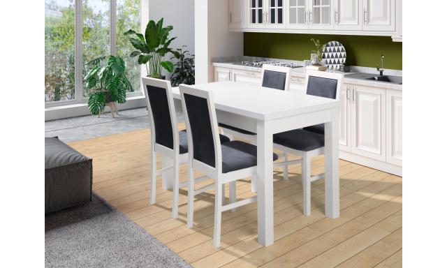 Bílý jídelní set Maxion 5 (stůl + 4x židle)