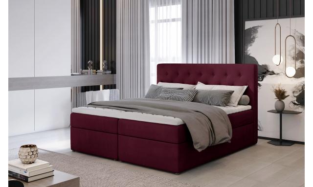 Kvalitní box spring postel Lapito 180x200, vínová Velvet