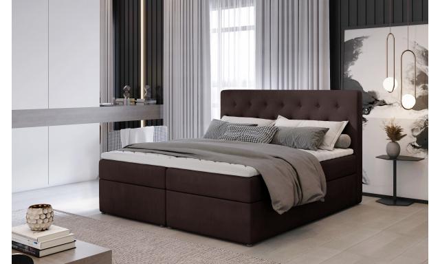 Kvalitní box spring postel Lapito 180x200, hnědá Monolith
