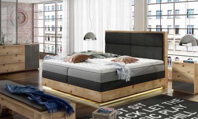 Luxusní box spring postel Toronto 180x200 + LED