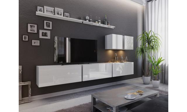 Moderní obývací stěna Bonny 07, bílá/bílý lesk