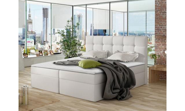 Moderní box spring postel Nestor 180x200, bílá