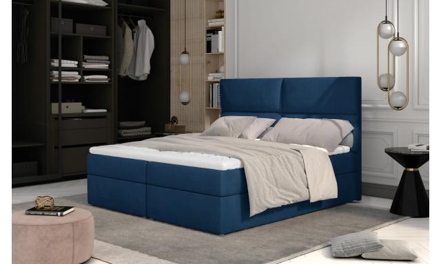 Prodloužená box spring postel Adam 210x185cm, modrá
